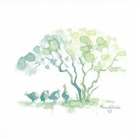 4 guineafowl stand in the shade of a bush, painted in watercolor by Alison Nicholls