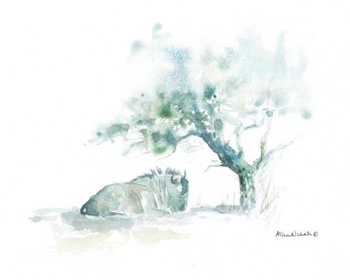 Wildebeest in Shade watercolor by Alison Nicholls