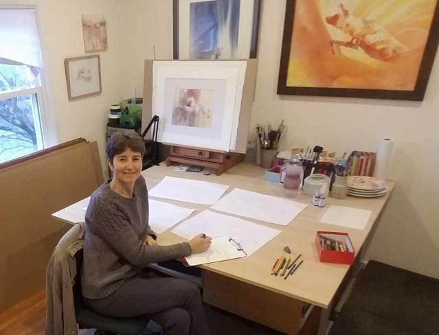 Artist Alison Nicholls in her studio