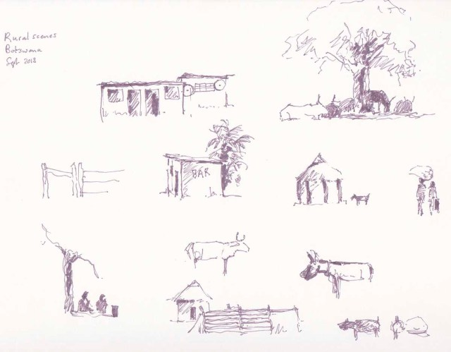 Rural village scenes sketched in pen in Botswana by Alison Nicholls