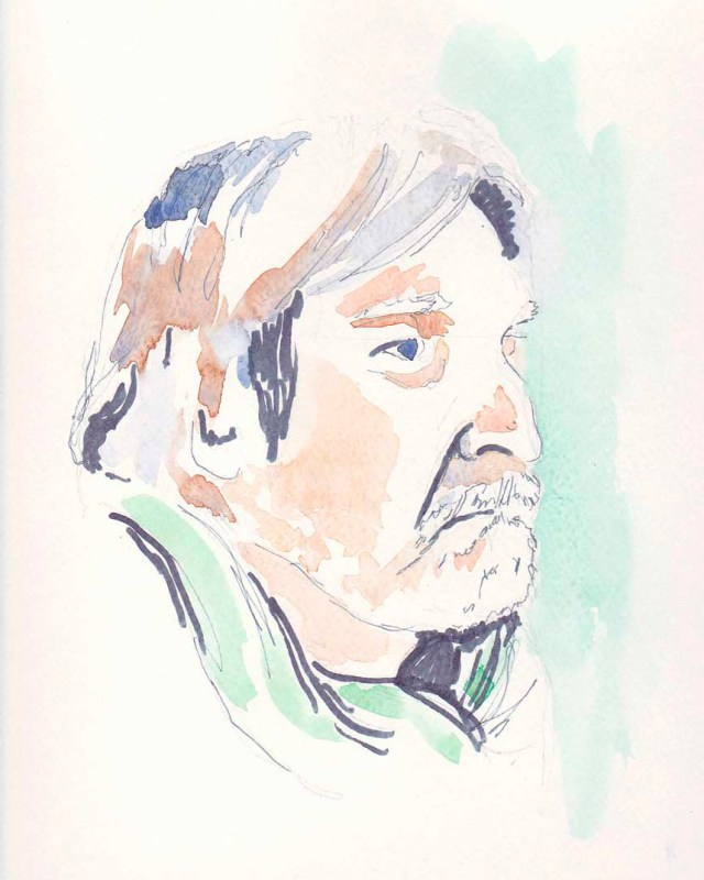 10 minute watercolor and pen sketch from life by Alison Nicholls, painted at 2019 New York City Portrait Party with NYC Urban Sketchers