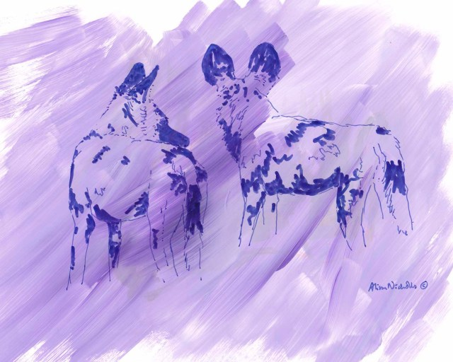 Painted Purple (painted dogs) by Alison Nicholls