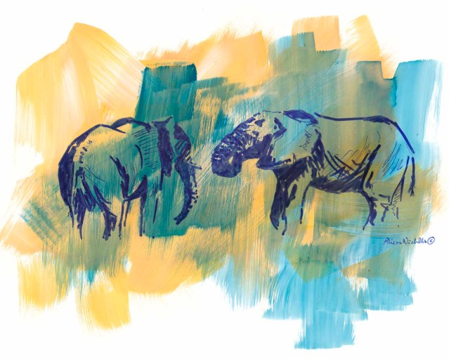 Wild Elephants sketch by Alison Nicholls