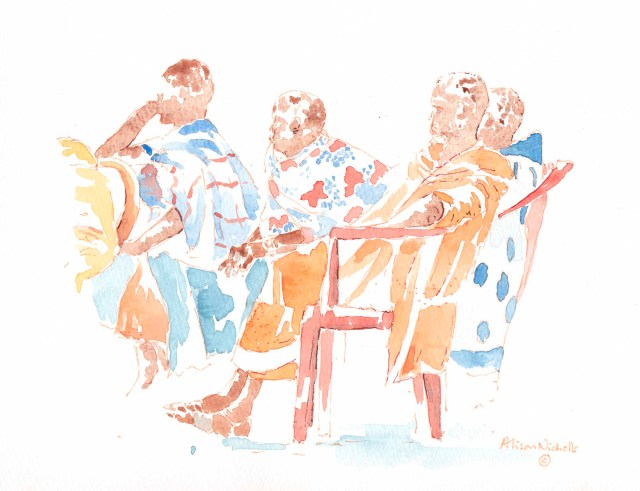 Womens Meeting sketch by Alison Nicholls