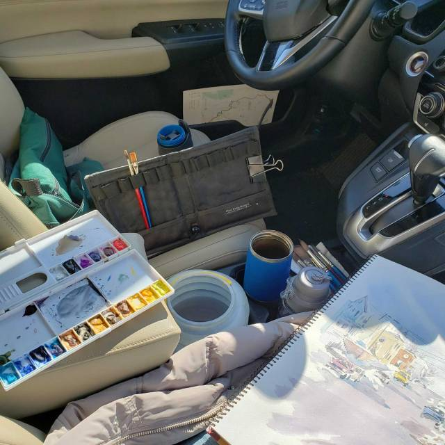 Painting from my car in winter - Alison Nicholls