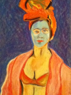 """'masked lady' on paper 17""""x11"""""""