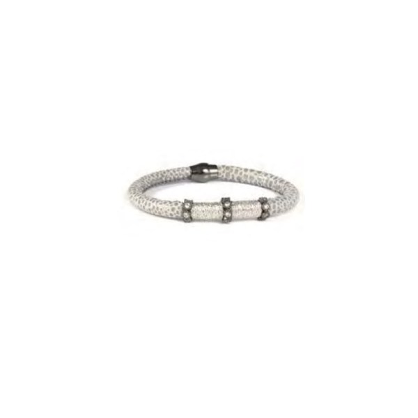 BRACELET CUIR ESTAMPE GRIS BLOOM