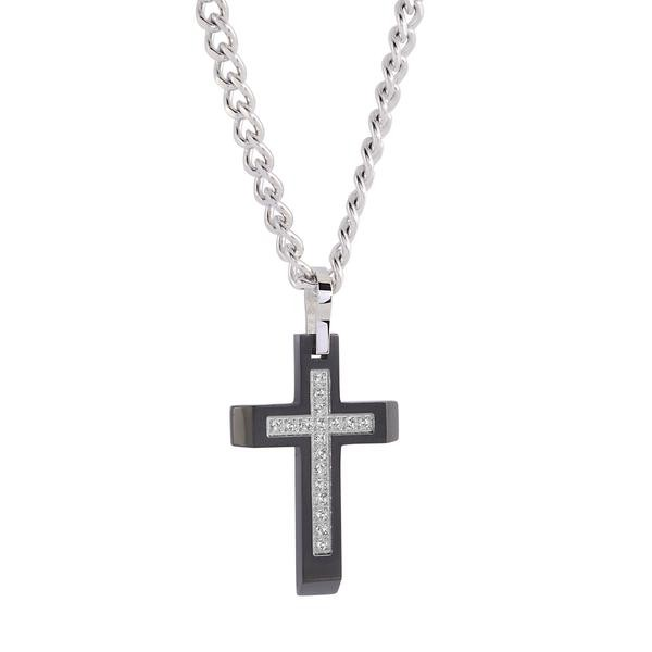 COLLIER S.STEEL CROIX ZIRCON
