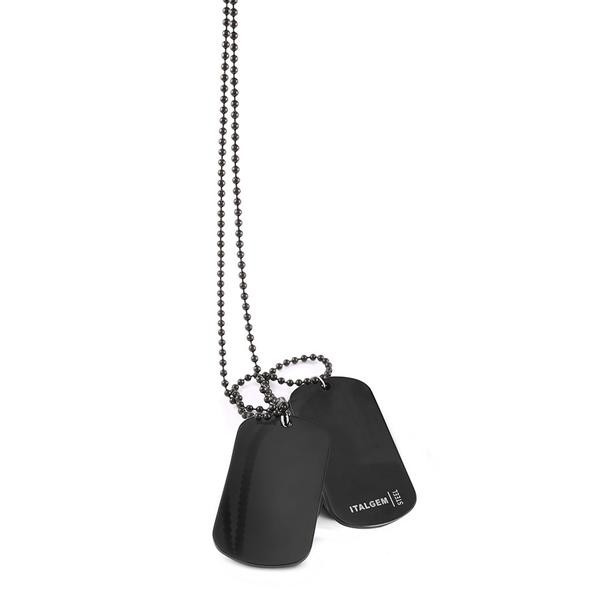 COLLIER S.STEEL BLACK DOUBLE DAOGTAGS