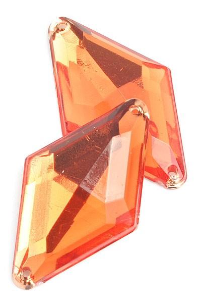SEW-ON DIAMOND FACET LT ORANGE