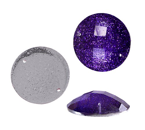 SEW-ON GLITTER STONE PURPLE 18MM