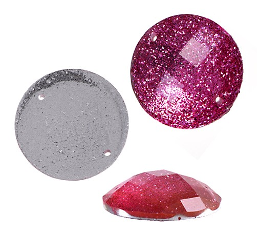 RESIN SEW-ON ROUND HOT PINK 18MM