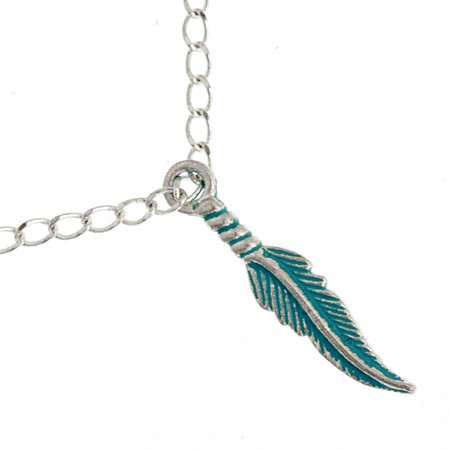 PENDANT FEATHER 28MM SILV/TURQUOISE