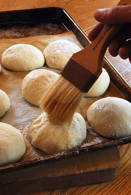 Brushing Dough for Kürbiskernbrot Pumpkin Seed Bread with Water | Artisan Bread in Five Minutes a Day