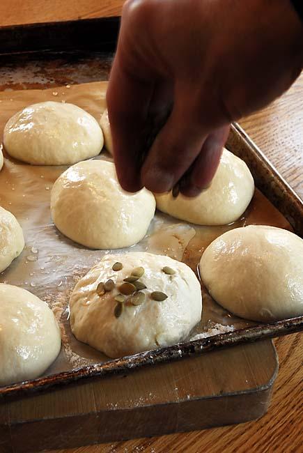Sprinkling Kürbiskernbrot with Pumpkin Seeds | Artisan Bread in Five Minutes a Day