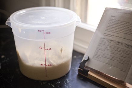 Container of dough and cookbook | Artisan Bread in Five Minutes a Day