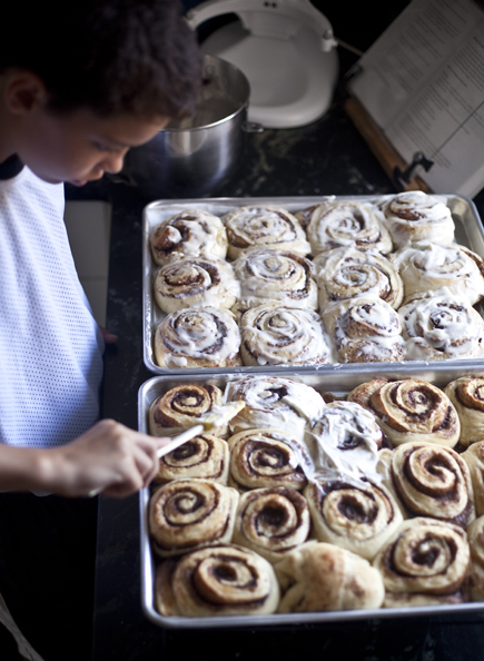 Icing a pan of cinnamon rolls | Artisan Bread in Five Minutes a Day