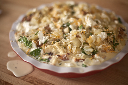 Savory Bread Pudding in a Pie Plate Before Baking   Artisan Bread in Five Minutes a Day