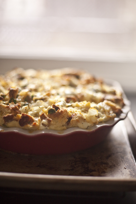 Savory Bread Pudding - A great way to use up leftover bread!   Artisan Bread in Five Minutes a Day
