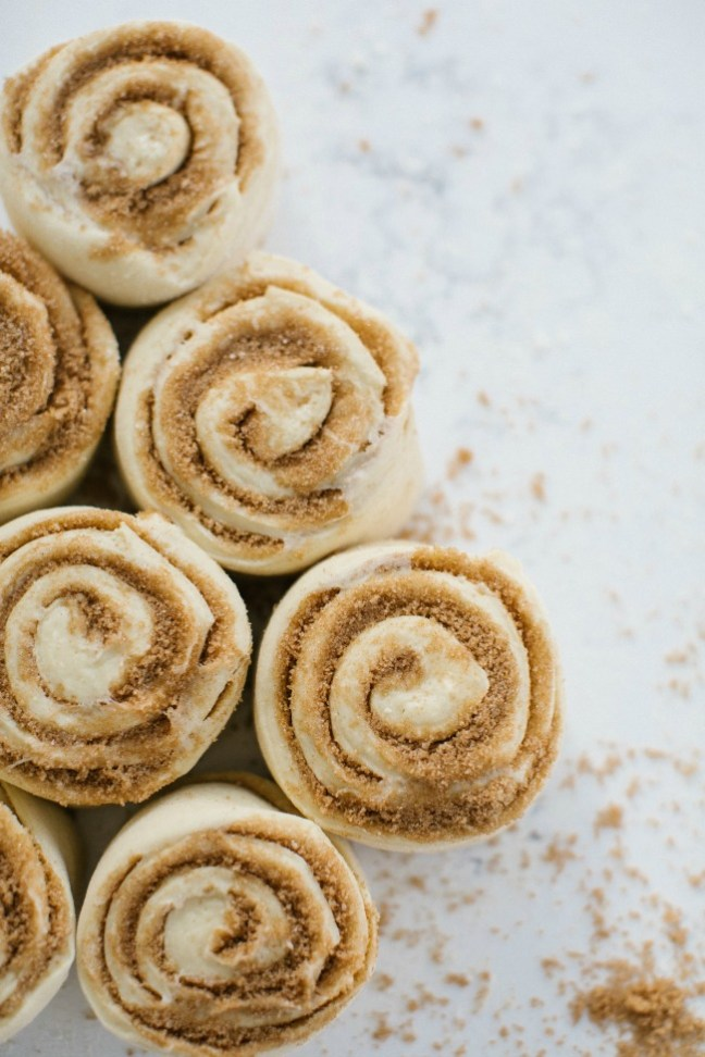 Cinnamon rolls before going into the oven