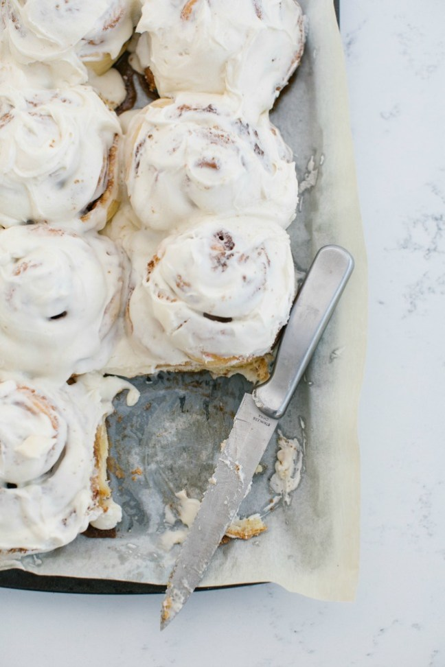 Truck stop cinnamon rolls with cream cheese frosting