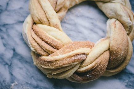 Cinnamon Brioche Wreath Before Baking   Artisan Bread in 5 Minutes a Day