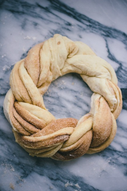 Cinnamon Brioche Wreath Before Baking | Artisan Bread in 5 Minutes a Day