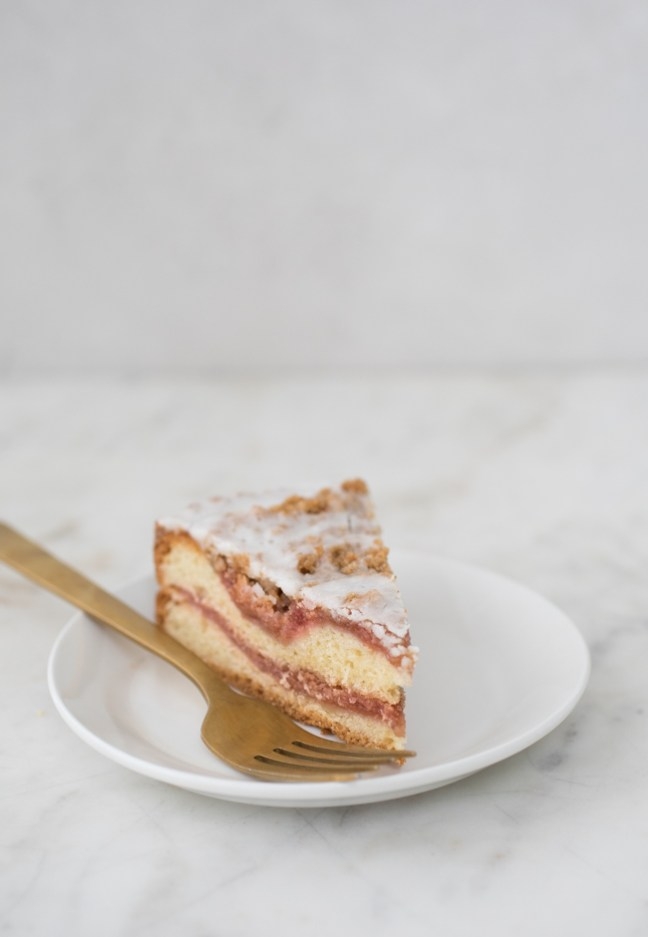 Strawberry Rhubarb Streusel Coffeecake