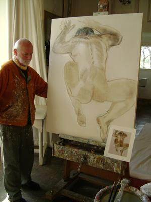 Choix et mise en place de la toile. Selection and implementation of the canvas.