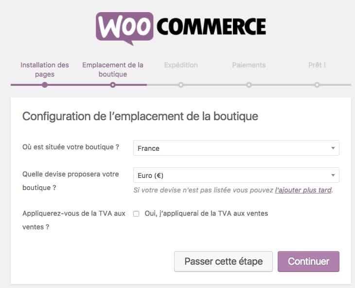 créer un site pour vendre ses créations en ligne : woocommerce emplacement de la boutique