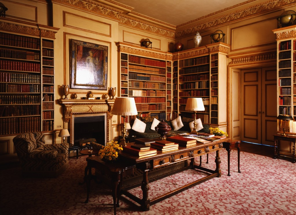 The library at Leeds Castle was restored and owned by Olive, Lady Baille, the granddaughter and heiress of American financier, William C. Whitney. As with many of the other castles and stately homes, the Castle is open to the public for tours. Photo courtesy of Country Life Magazine
