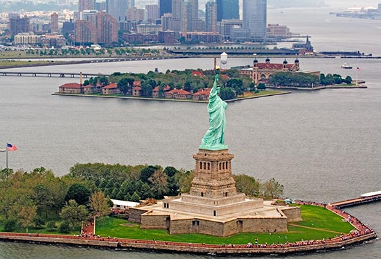 The Statue of Liberty and Ellis Island, the gateway to the United States for hundreds of thousands of immigrants