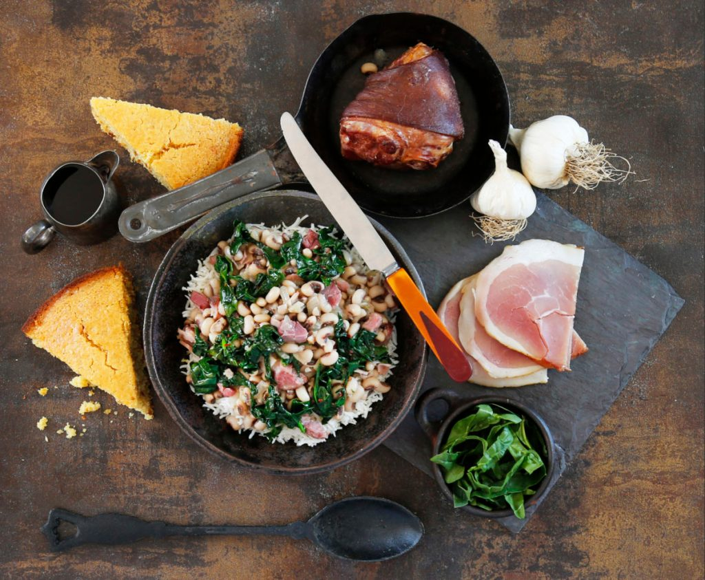 Black Eyed Peas with Rice,Greens and sidemeat by Monica Kass Rogers