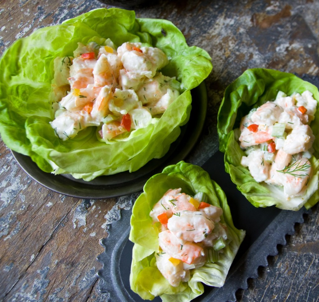 Shrimp Salad & Avocados with a dash of Meyer Lemon Sauce. What could be better on a hot summer day?