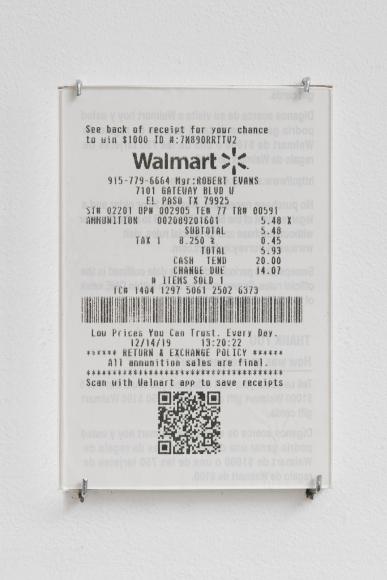 Teresa Margolles, Recibo, 2020. Copia del recibo de la compra de Walmart, Gateway Blvd, El Paso, TX, 13,3 x 8 cm. Edición de 3. Cortesía de la artista y James Cohan Gallery, NY