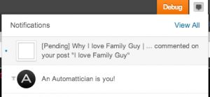 It even shows up on my WordPress notifications!