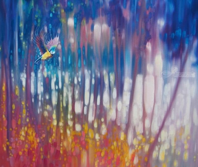 Jewel Of Nature Semi Abstract With Woodland Bird Paintings Fine Art Landscape