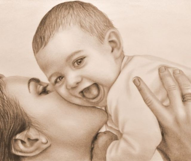 Mother And Child Drawings Sketch Expressionism Realism Figurative People