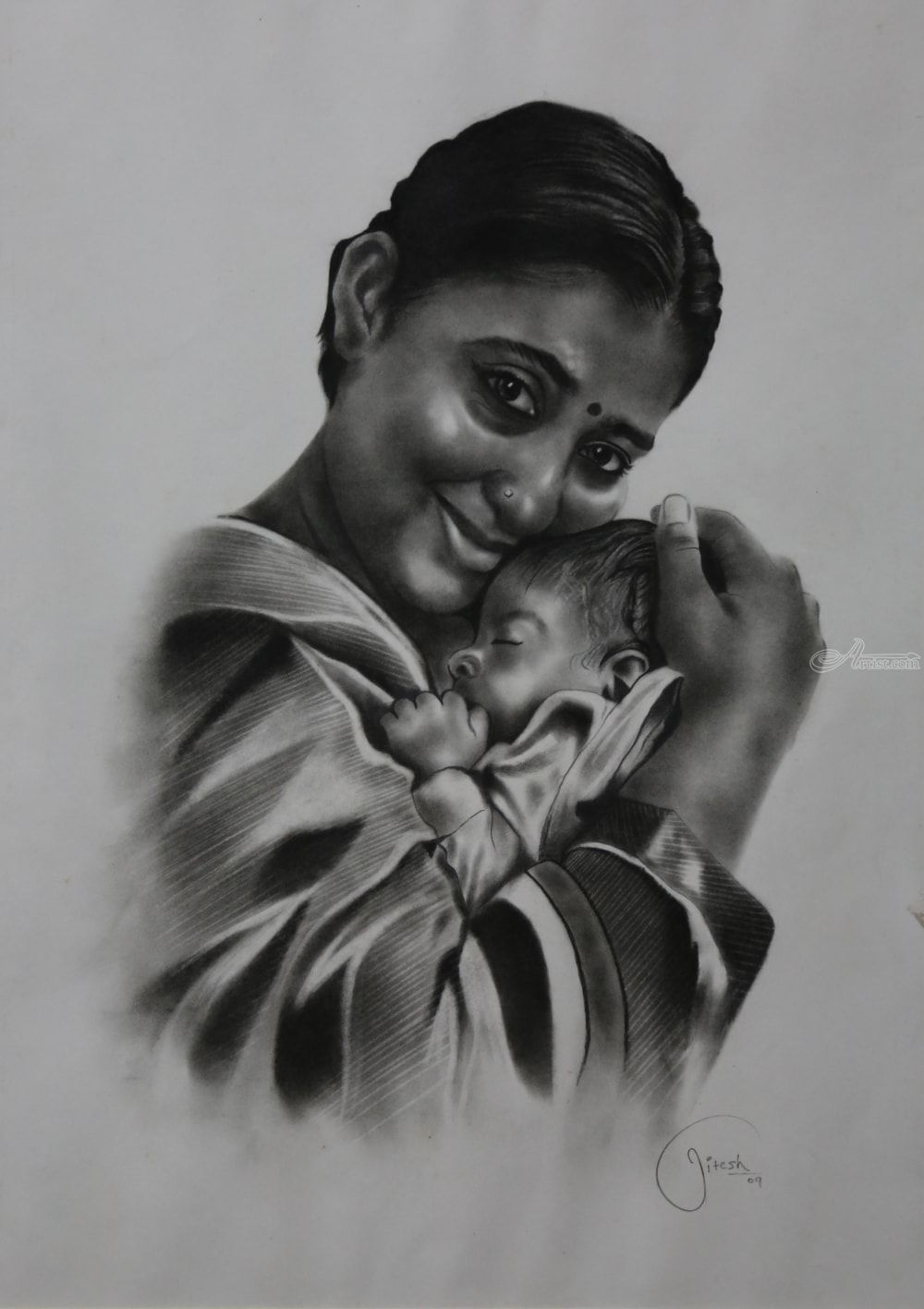 Mother And Child Drawings Sketch By Jitesh Patil Artist Com