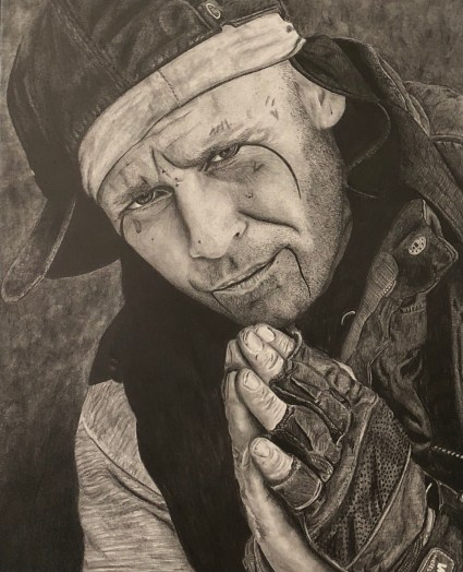 Graphite Homeless Man Praying