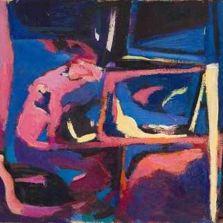 Vitrine arrière - 1981 Acrylique sur toile 41cm X 51cm Louis Fortier PRIX : Oeuvre non disponible (vendue)