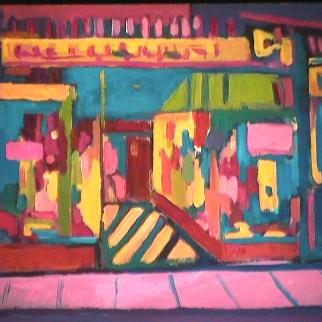 Vitrine sur rue - 1981 Acrylique sur masonite 41cm X 51cm Louis Fortier PRIX : 475$