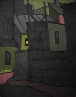 Batisse tôle jointe | ciel vert - 1977-1979 Acrylique sur masonite 41cm X 51cm Louis Fortier PRIX : 475$