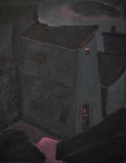 Maison bleue ligne rouge - 1977-1979 Acrylique sur masonite 41cm X 51cm Louis Fortier