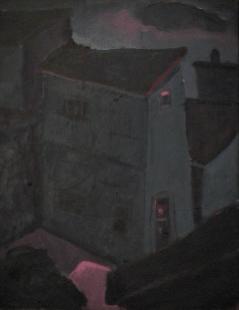 Maison bleue ligne rouge - 1977-1979 Acrylique sur masonite 41cm X 51cm Louis Fortier PRIX : 475$