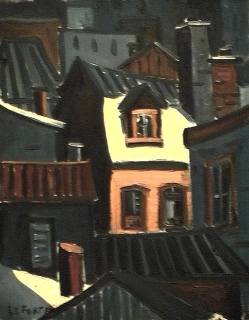 Maison lumière beige - 1977-1979 Acrylique sur toile 41cm X 51cm Louis Fortier PRIX : 475$