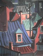 Toit bleu   vert - 1977-1979 Acrylique sur toile 40cm X 61cm Louis Fortier