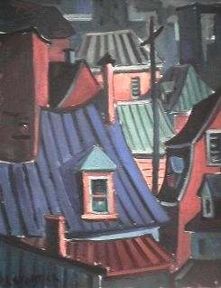 Toit bleu | vert - 1977-1979 Acrylique sur toile 40cm X 61cm Louis Fortier