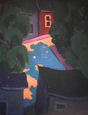 Maison mauve avec arbre - 1977-1979 Acrylique sur toile 41cm X 51cm Louis Fortier