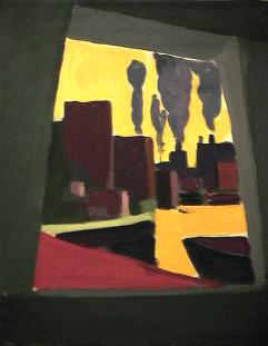 Usines - 1980 Acrylique sur toile 41cm X 51cm Louis Fortier